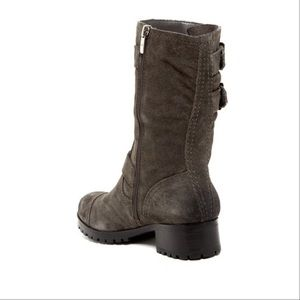 Urban Outfitters Shoes - Charcoal Gray Distressed Suede Combat Moto Boot